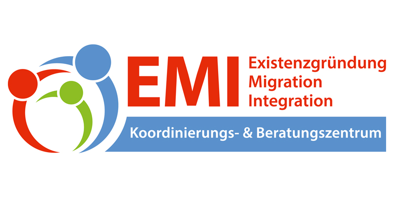 """dreifarbige Grafik mit Text """"EMI Existenzgründung Migration Integration Koordinierungs- & Beratungszentrum"""""""